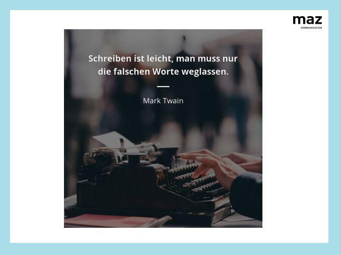 Knappe, effiziente Texte schreiben. Das lernt man in Schreibtrainings am MAZ.